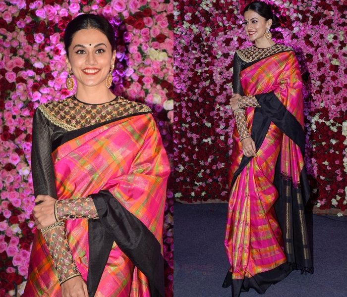 Checkered Silk Saree With Full Sleeve Blouse