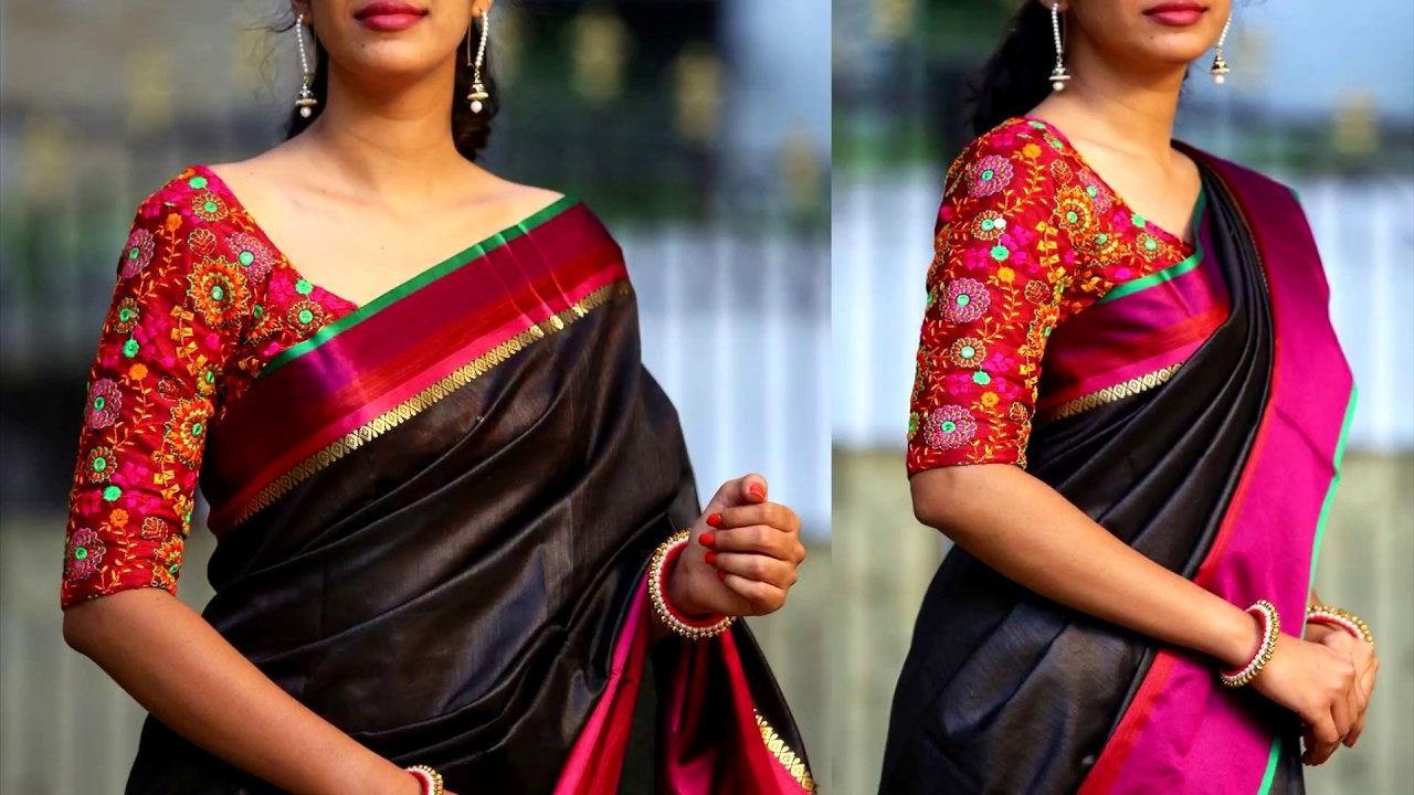 Mirror Work Blouse Designs For Pattu Sarees