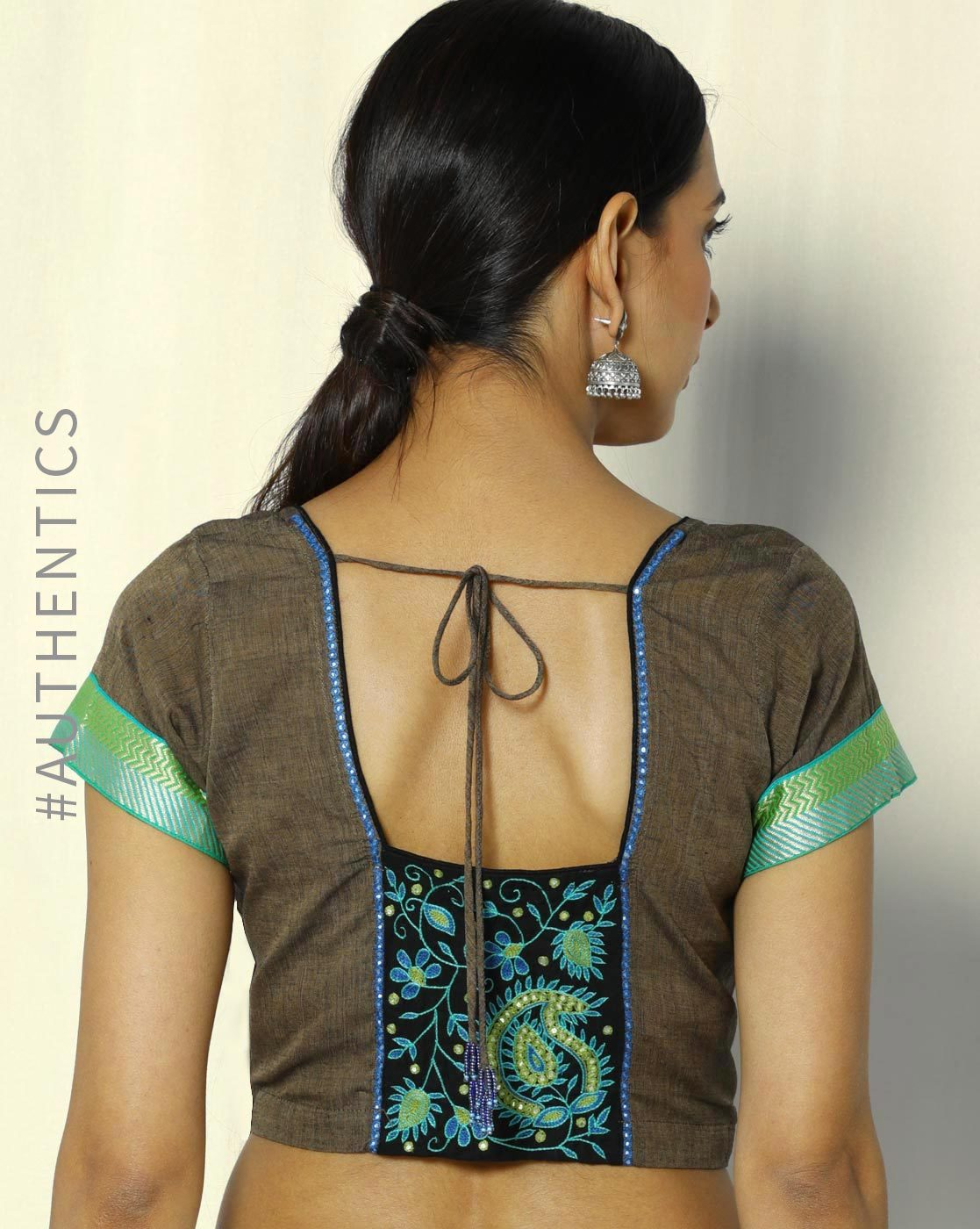 Blouse Stand Neck Designs : Simple blouse back neck designs for cotton sarees