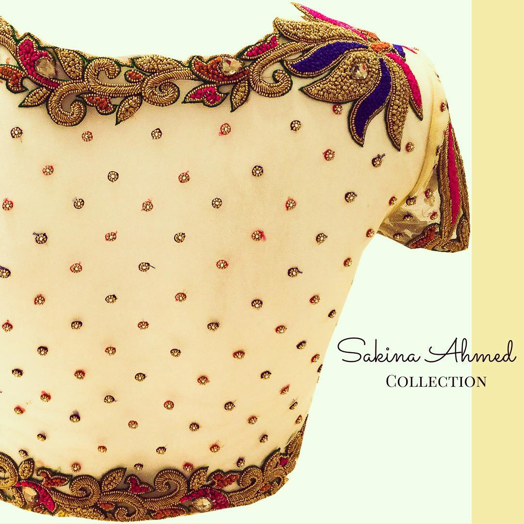 Net Blouse Designs For Silk Sarees