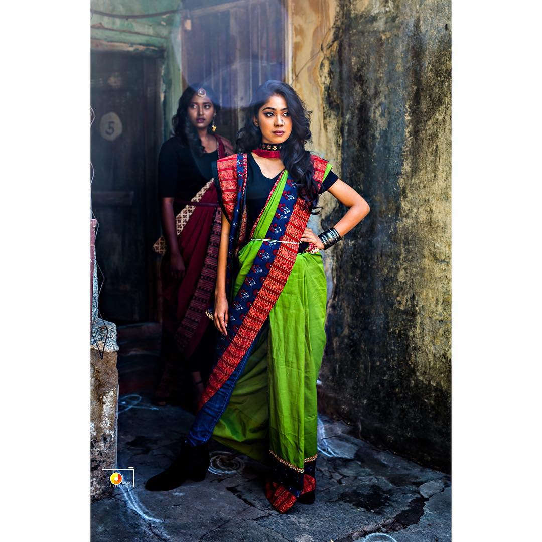 wear sarees with pants and skirts