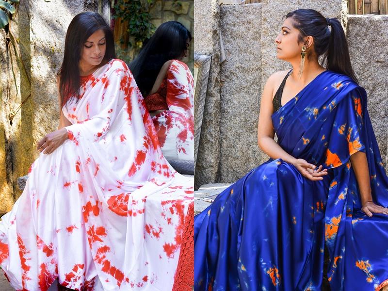 Dyed Satin Saree Designs