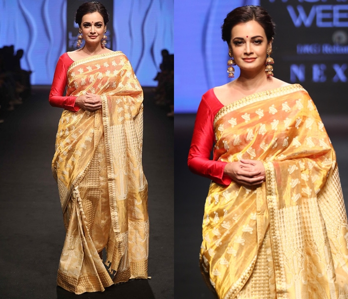 How To Wear Gold Silk Saree