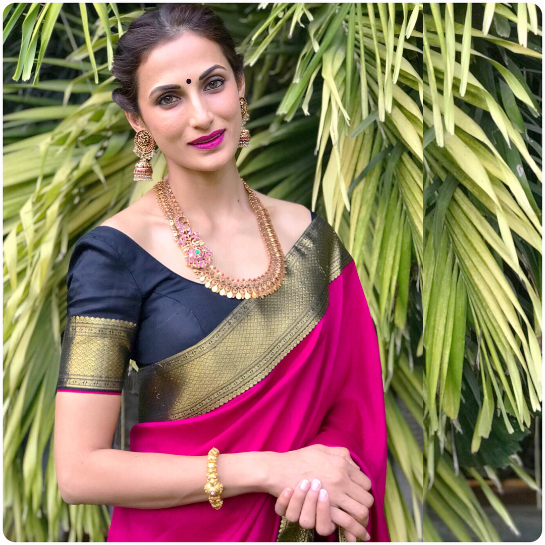 Makeup For Pink Silk Saree
