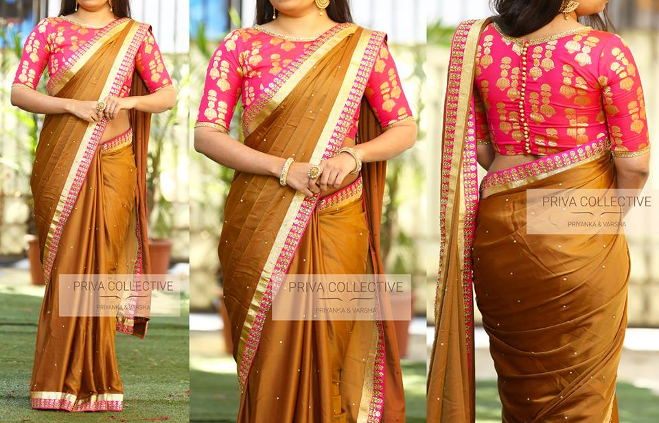 Plain Saree With Heavy Blouse