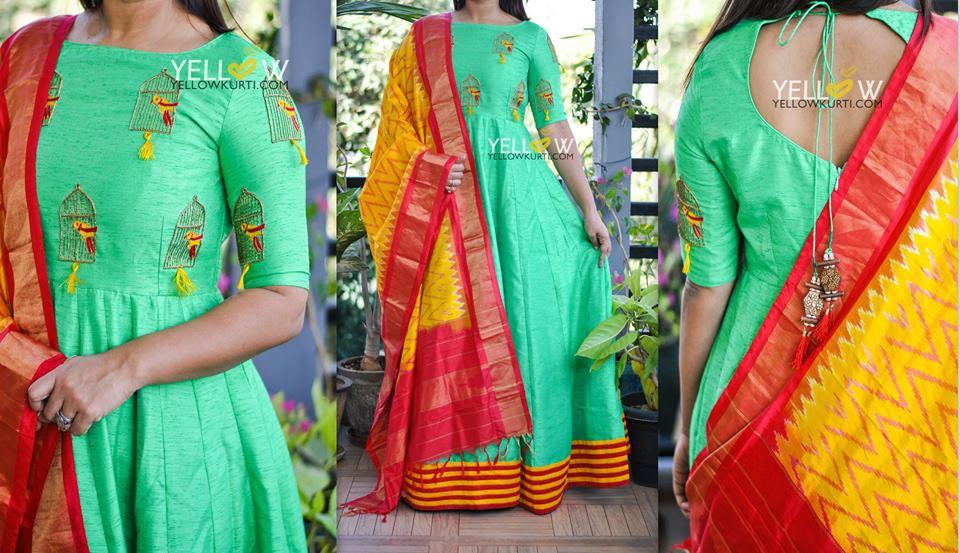 Silk Dupattas From Yellow Kurti