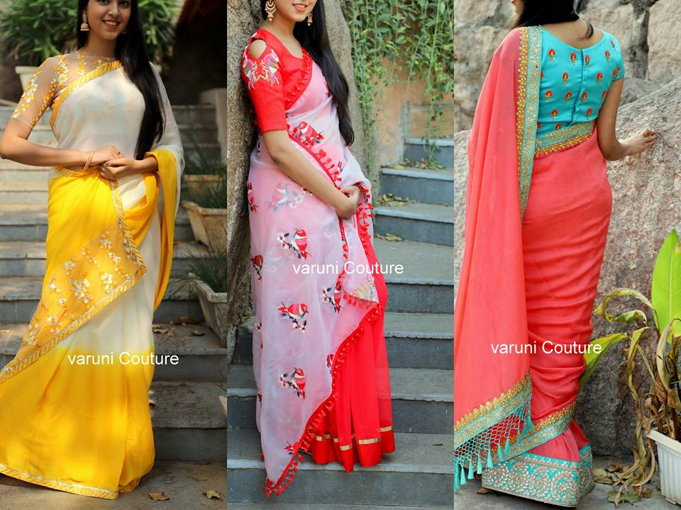Simple Thread Work Blouse Designs