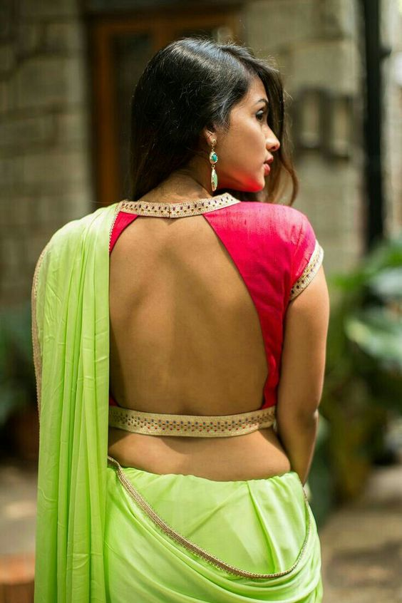 Deep back neck blouse designs