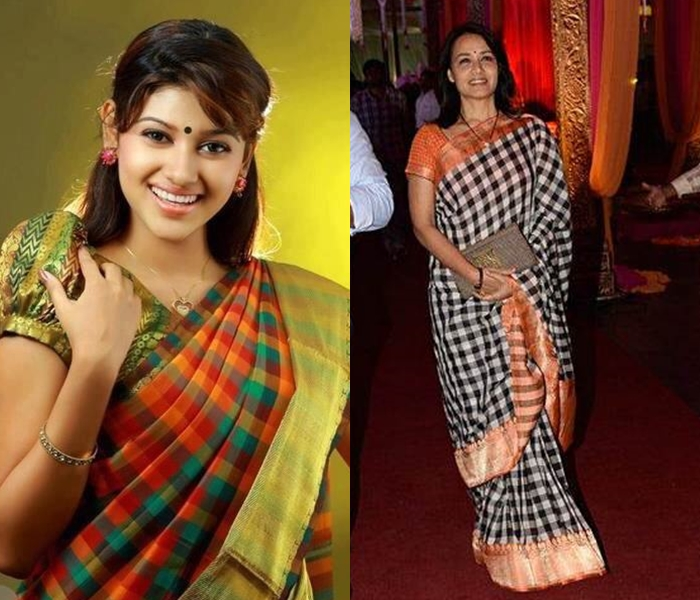 checkered silks sarees