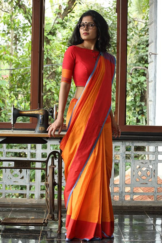 contrast blouse for orange saree