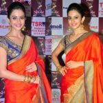 11 Chic Contrast Blouse Ideas For Orange Sarees