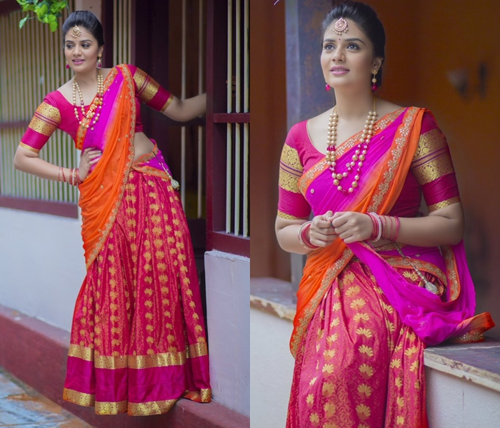 silk half saree designs