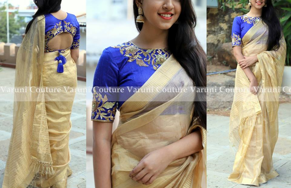 Plain saree with embroidery blouse