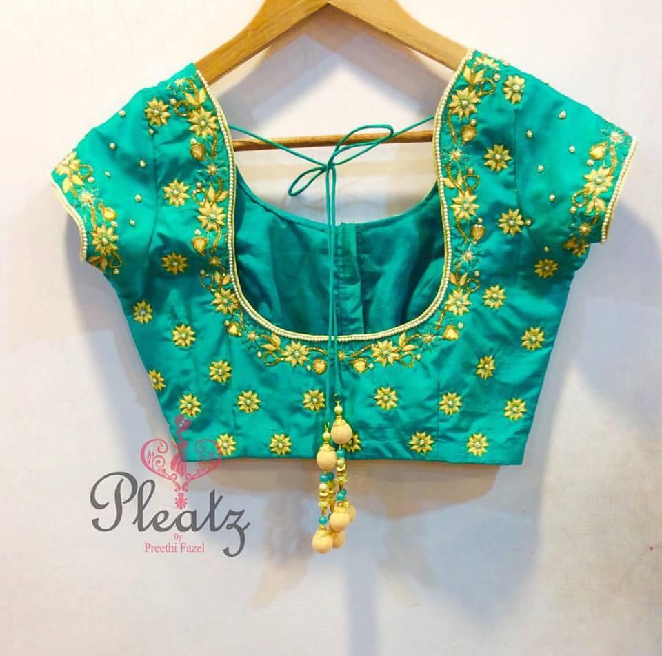 heavy work silk saree blouses