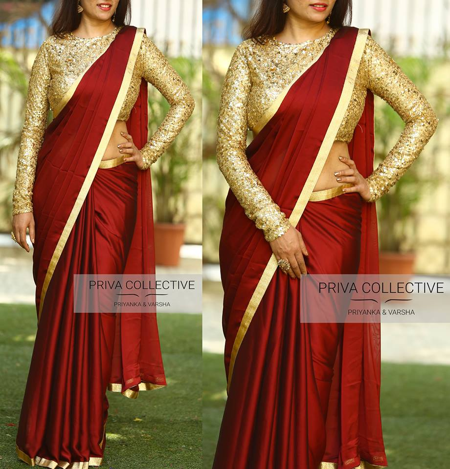 high neck blouse designs for silk sarees