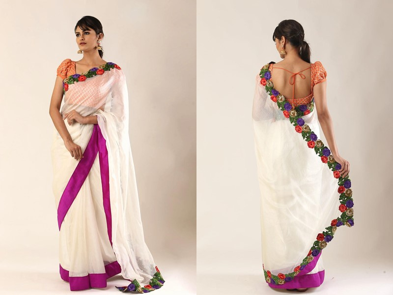 plain sarees with patch work blouses