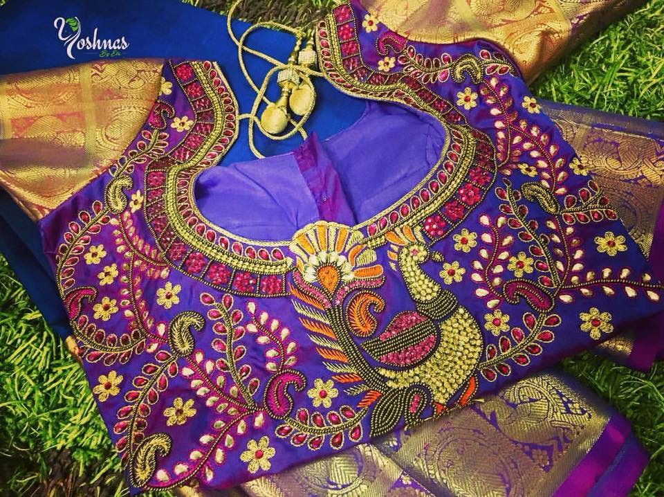 Creative work silk sarees 2018 yoshnas