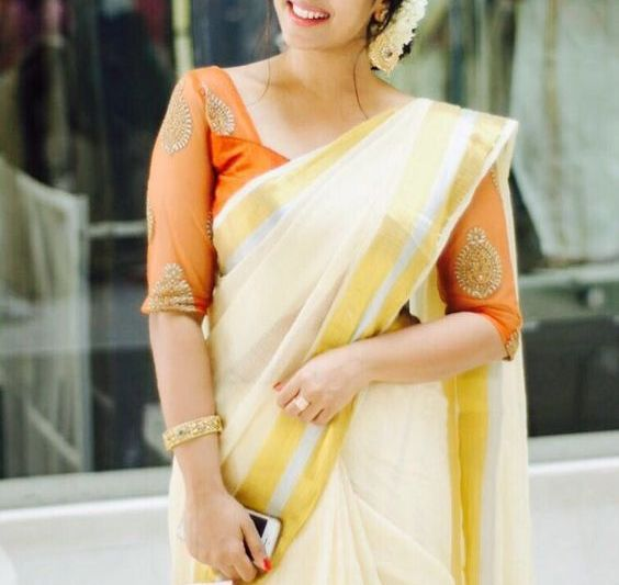 Kerala onam saree blouse neck designs