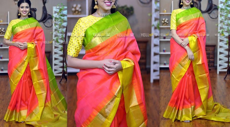 Yellow kurti sarees