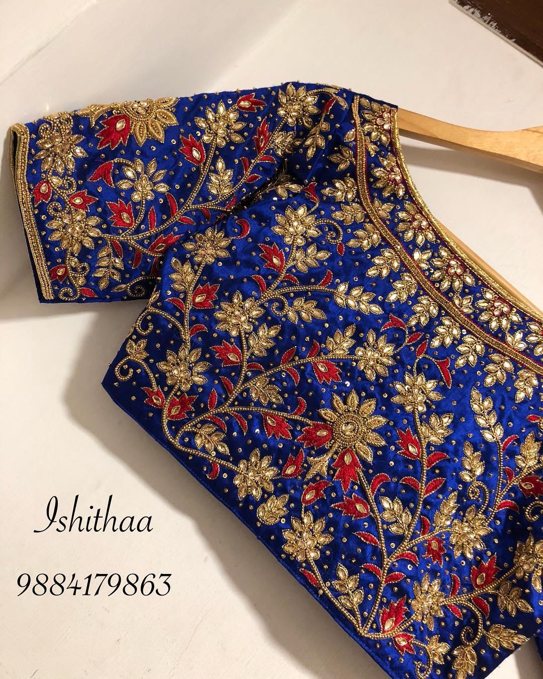 bridal silk saree blouses