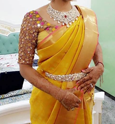 yellow wedding saree designs