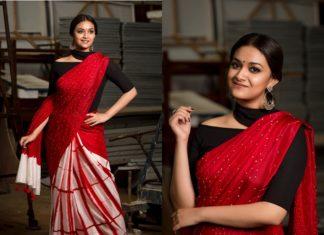 black red saree idea