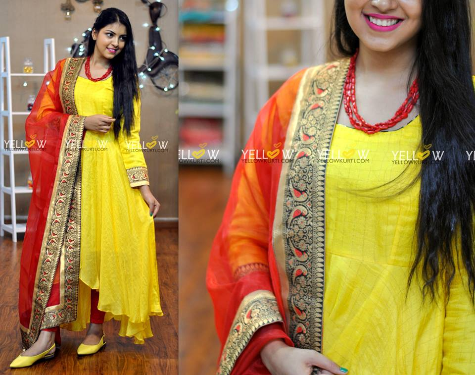 long ethnic gowns yellow