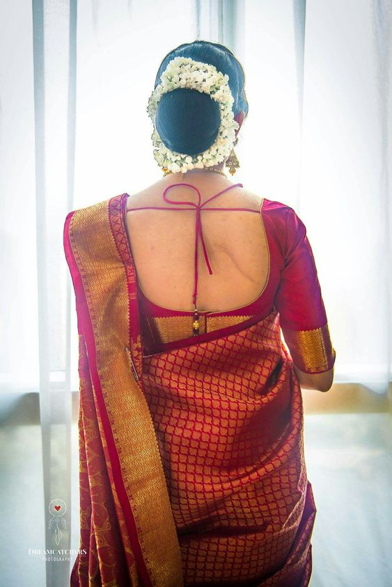 saree and hair bun